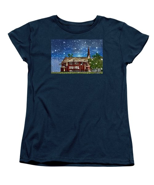 Lovely Country Church Women's T-Shirt (Standard Cut) by Liane Wright