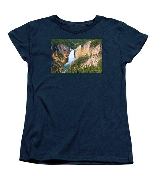 Women's T-Shirt (Standard Cut) featuring the photograph Lower Falls Yellowstone 2 by Teresa Zieba