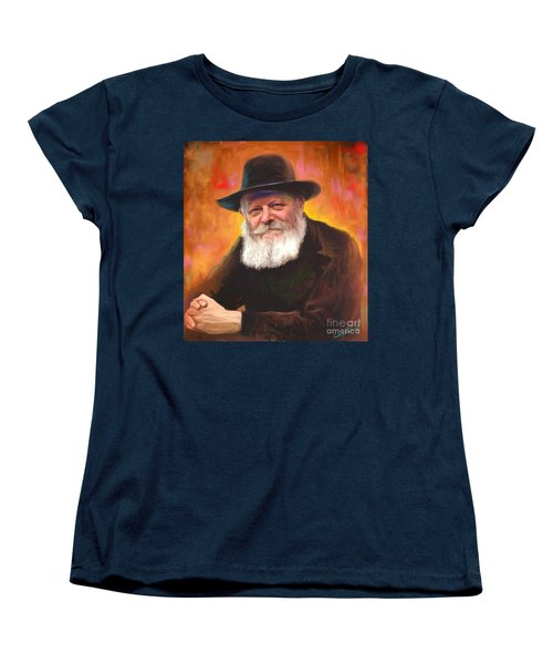 Women's T-Shirt (Standard Cut) featuring the painting Lubavitcher Rebbe by Sam Shacked