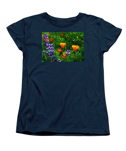 Lupines And Poppies Women's T-Shirt (Standard Cut) by Lynn Bauer