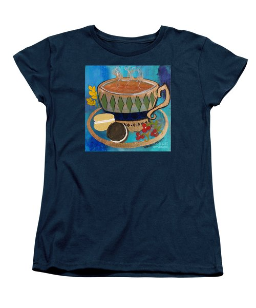 Women's T-Shirt (Standard Cut) featuring the painting Macaroons And Tea by Robin Maria Pedrero