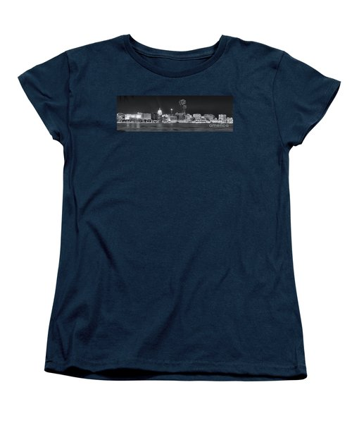 Madison - Wisconsin -  New Years Eve Panorama Black And White Women's T-Shirt (Standard Cut) by Steven Ralser