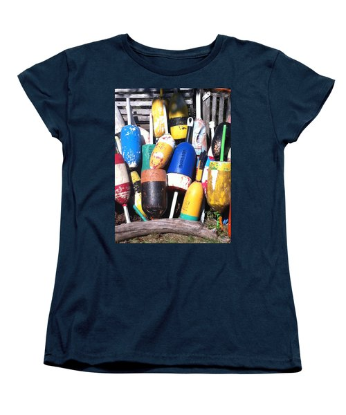 Maine Lobster Buoys Women's T-Shirt (Standard Cut) by Denyse Duhaime