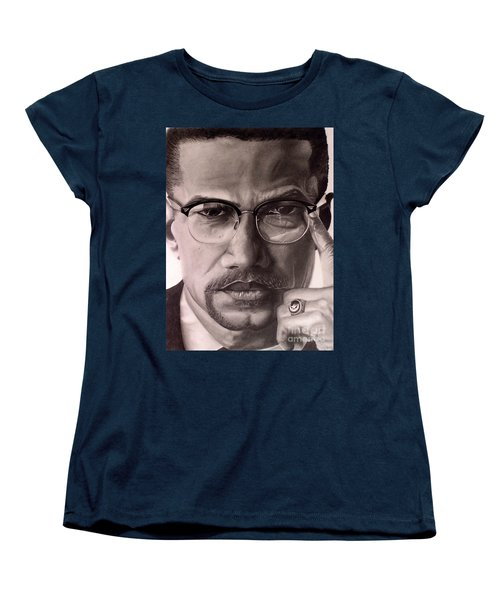 Women's T-Shirt (Standard Cut) featuring the drawing Malcolm X by Wil Golden