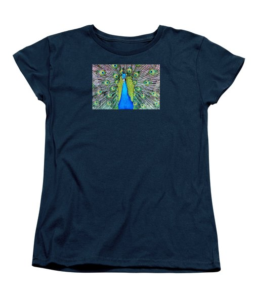 Male Peacock Women's T-Shirt (Standard Cut) by Cynthia Guinn