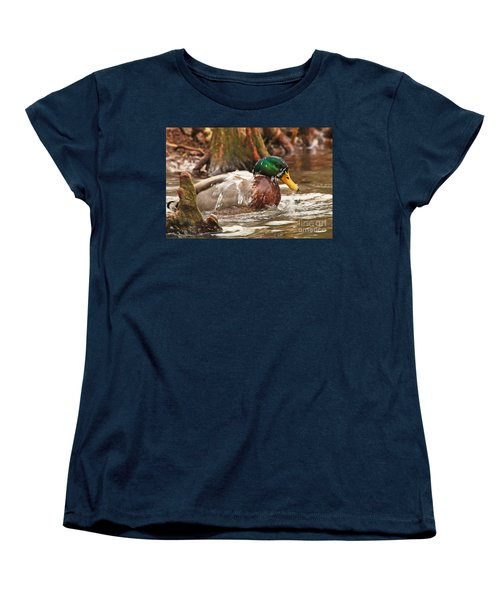 Mallard Duck Taking Bath Women's T-Shirt (Standard Cut) by Luana K Perez