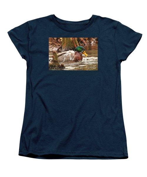Women's T-Shirt (Standard Cut) featuring the photograph Mallard Duck Taking Bath by Luana K Perez