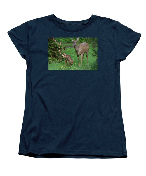Mama Deer And Baby Bambi Women's T-Shirt (Standard Cut) by Kym Backland