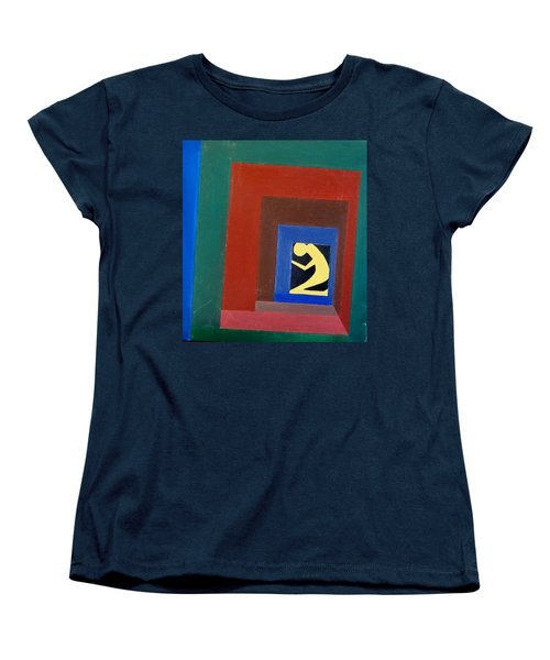 Women's T-Shirt (Standard Cut) featuring the painting Man In A Box by Lenore Senior