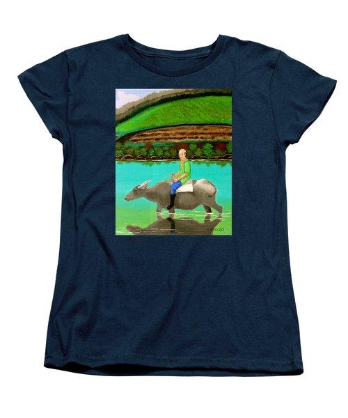 Man Riding A Carabao Women's T-Shirt (Standard Cut) by Cyril Maza