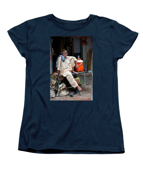 Man Sits And Relaxes In Lahore Walled City Pakistan Women's T-Shirt (Standard Cut) by Imran Ahmed