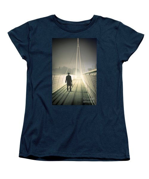 Women's T-Shirt (Standard Cut) featuring the photograph Man With Case On Bridge by Lee Avison