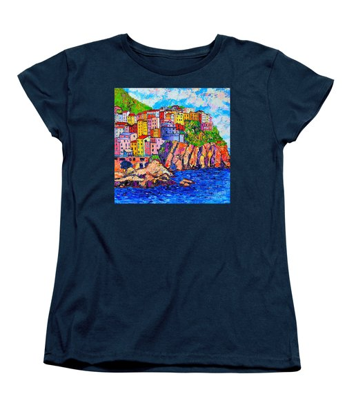 Manarola Cinque Terre Italy Detail Women's T-Shirt (Standard Cut) by Ana Maria Edulescu