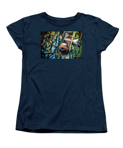 Mandarin Duck Reflections Women's T-Shirt (Standard Cut) by Peta Thames