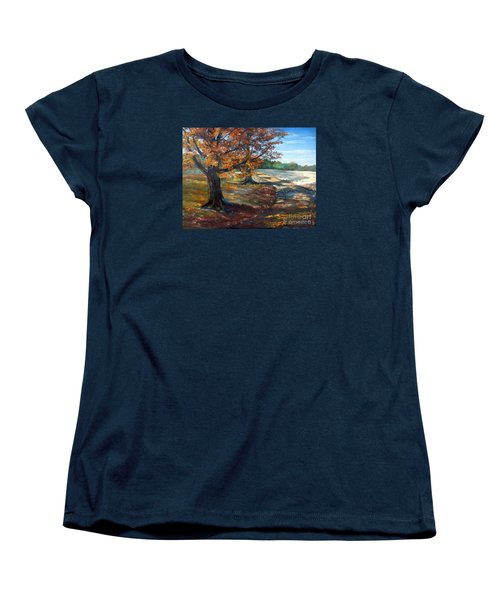 Women's T-Shirt (Standard Cut) featuring the painting Maple Lane by Lee Piper