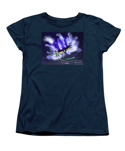 Women's T-Shirt (Standard Cut) featuring the painting Mardi Gras On Purple by Alys Caviness-Gober