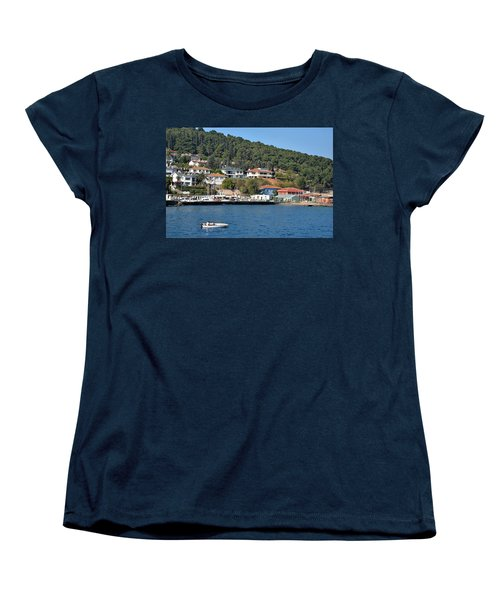Women's T-Shirt (Standard Cut) featuring the photograph Marina Bay Scene With Boat And Houses On Hills by Imran Ahmed