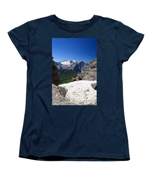 Women's T-Shirt (Standard Cut) featuring the photograph Marmolada From Saas Pordoi by Antonio Scarpi