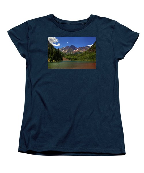 Women's T-Shirt (Standard Cut) featuring the photograph Maroon Bells From Maroon Lake by Alan Vance Ley