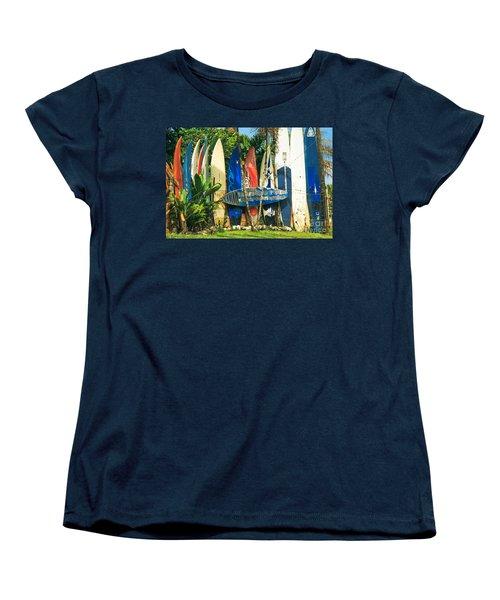 Maui Surfboard Fence - Peahi Hawaii Women's T-Shirt (Standard Cut) by Sharon Mau