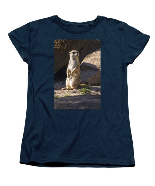 Meerkat Looking Left Women's T-Shirt (Standard Cut) by Chris Flees