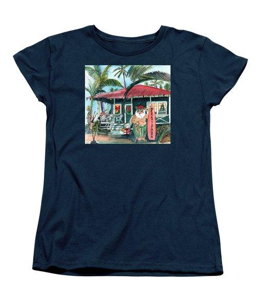 Mele Kalikimaka Hawaiian Santa Women's T-Shirt (Standard Cut)