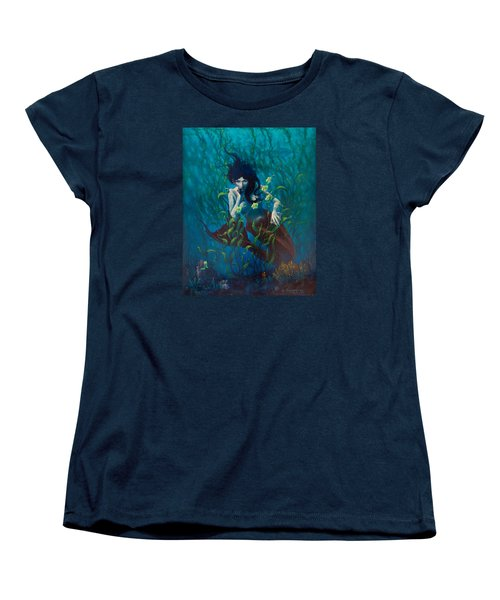 Women's T-Shirt (Standard Cut) featuring the painting Mermaid by Rob Corsetti