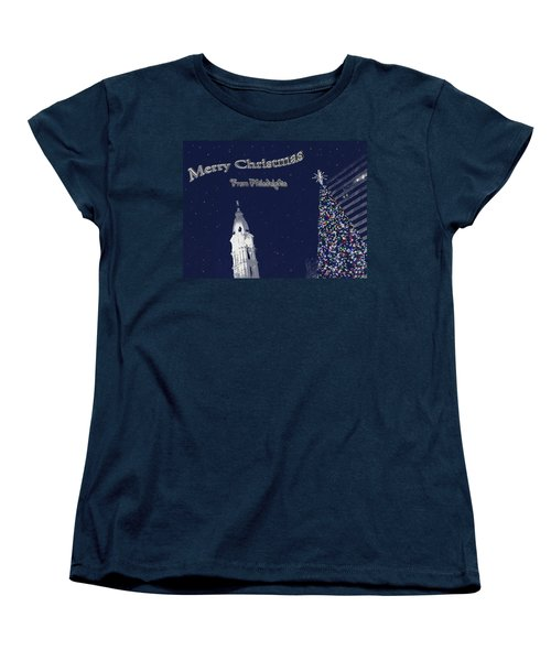 Merry Christmas From Philly Women's T-Shirt (Standard Cut) by Photographic Arts And Design Studio
