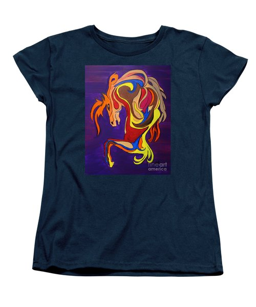 Women's T-Shirt (Standard Cut) featuring the painting Merry Go Round Carousel Horse by Janice Rae Pariza