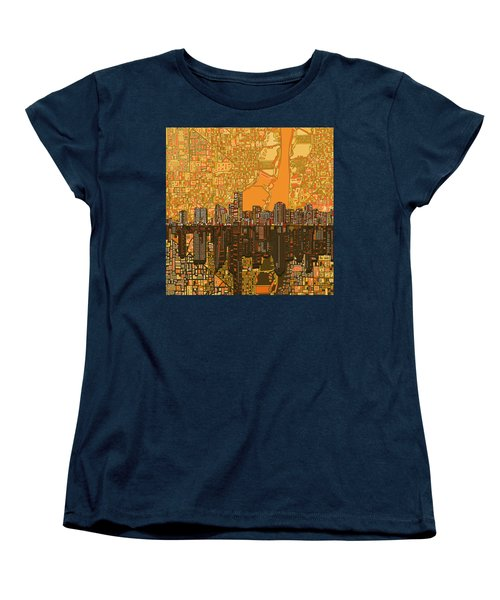 Miami Skyline Abstract 5 Women's T-Shirt (Standard Cut) by Bekim Art