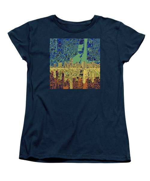 Miami Skyline Abstract 7 Women's T-Shirt (Standard Cut) by Bekim Art