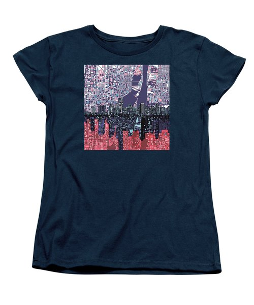 Miami Skyline Abstract Women's T-Shirt (Standard Cut) by Bekim Art