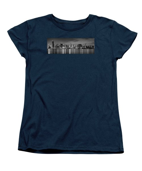 Miami Skyline At Dusk Black And White Bw Panorama Women's T-Shirt (Standard Cut) by Jon Holiday