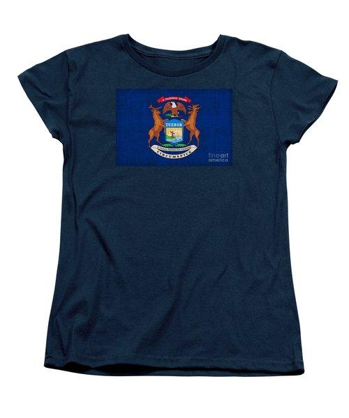 Michigan State Flag Women's T-Shirt (Standard Cut) by Pixel Chimp