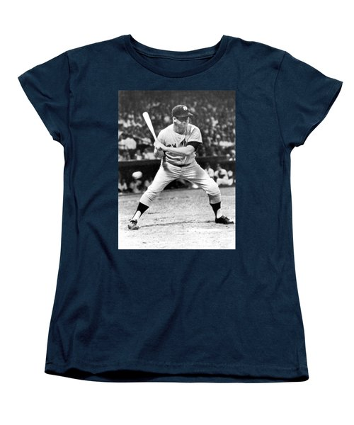 Mickey Mantle At Bat Women's T-Shirt (Standard Cut) by Underwood Archives