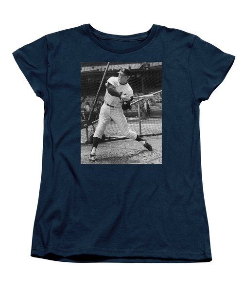 Mickey Mantle Poster Women's T-Shirt (Standard Cut) by Gianfranco Weiss