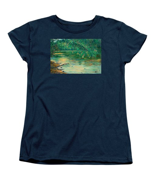 Women's T-Shirt (Standard Cut) featuring the painting Mid-spring On The New River by Kendall Kessler