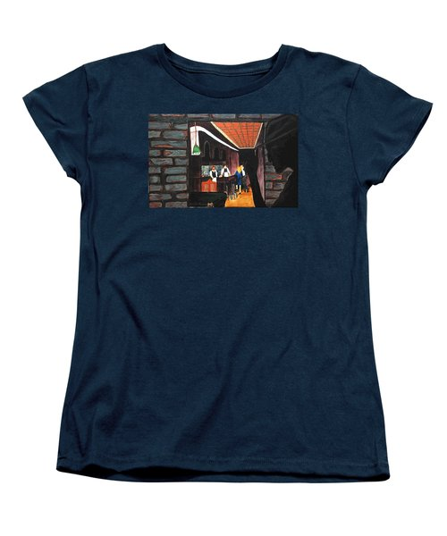 Women's T-Shirt (Standard Cut) featuring the painting Midnight At Dylan's by Lisa Brandel