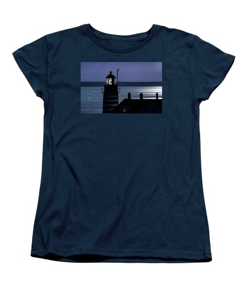 Women's T-Shirt (Standard Cut) featuring the photograph Midnight Moonlight On West Quoddy Head Lighthouse by Marty Saccone