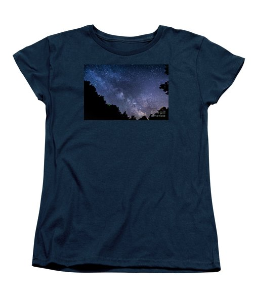Milky Way Over Silver Springs Campground Women's T-Shirt (Standard Cut) by Patrick Fennell