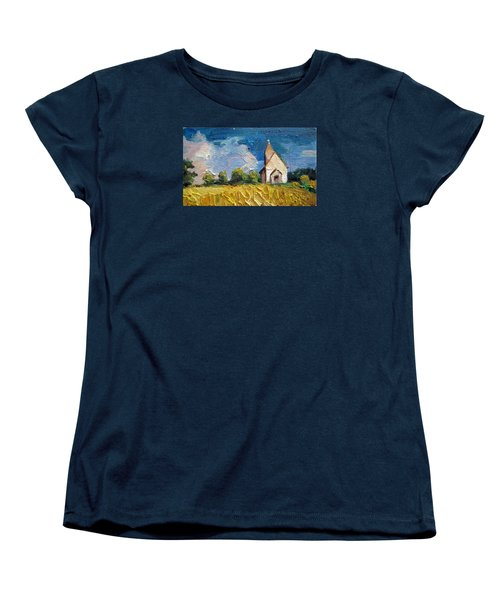 Women's T-Shirt (Standard Cut) featuring the painting Mini Church by Jieming Wang
