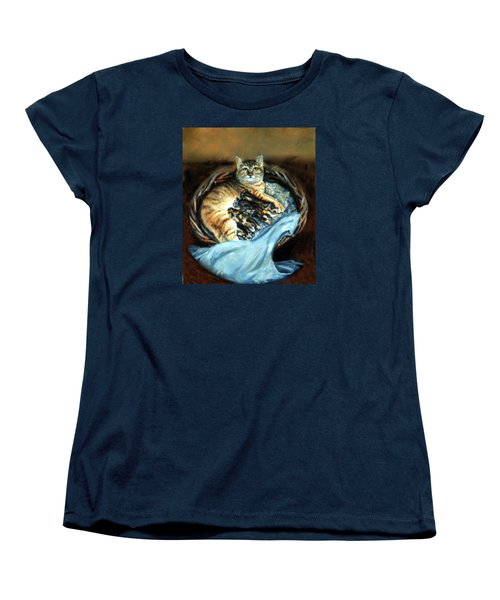 Women's T-Shirt (Standard Cut) featuring the painting Mom With Her Kittens by Donna Tucker
