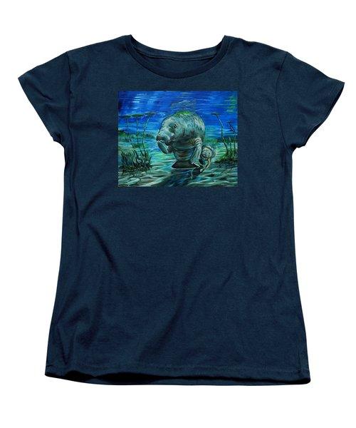 Momma Manatee Women's T-Shirt (Standard Cut) by Steve Ozment