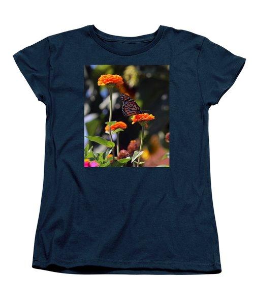Monarch Butterfly And Orange Zinnias Women's T-Shirt (Standard Cut) by Kay Novy
