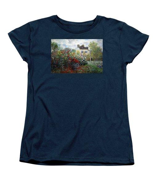 Women's T-Shirt (Standard Cut) featuring the photograph Monet's The Artist's Garden In Argenteuil  -- A Corner Of The Garden With Dahlias by Cora Wandel