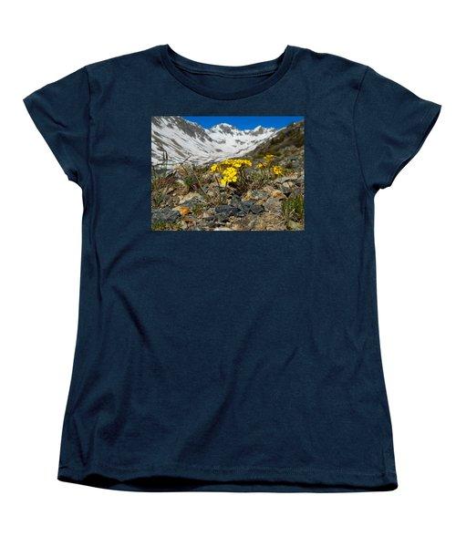 Blue Lakes Colorado Wildflowers Women's T-Shirt (Standard Cut) by Dan Miller
