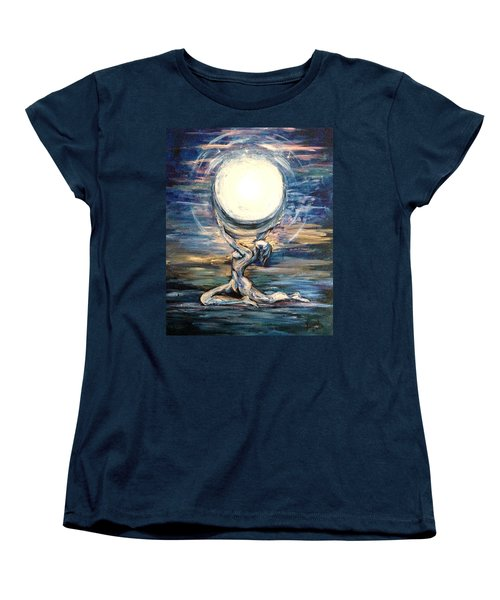 Women's T-Shirt (Standard Cut) featuring the painting Moon Goddess by Karen  Ferrand Carroll