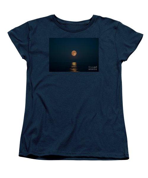Moon Over Lake Of Shining Waters Women's T-Shirt (Standard Cut) by Barbara McMahon