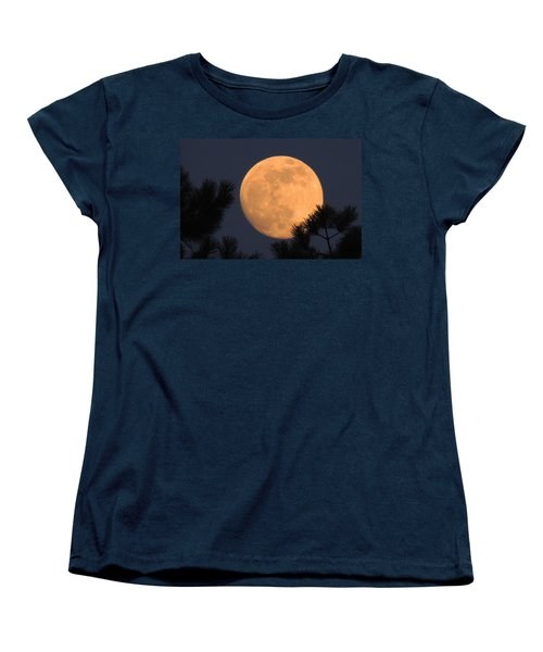 Women's T-Shirt (Standard Cut) featuring the photograph Moon Pines by Charlotte Schafer