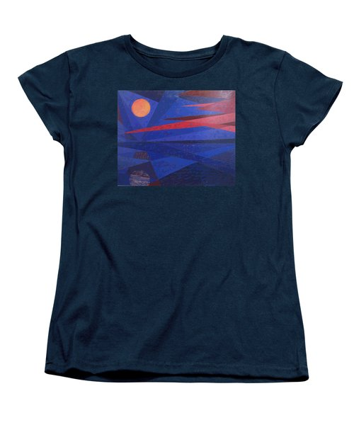 Women's T-Shirt (Standard Cut) featuring the painting Moon Reflecting On A Lake by Walter Casaravilla